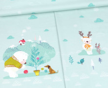 Modal - Jersey - Ice Ice Babybear  - Paneel - Weihnachten - Pastelltürkis - Bio-Qualität - abby and me