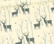 Sommersweat - Wald Der Hirsche - Weihnachten - Ecru - Bio Qualität - abby and me