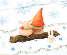 Sommersweat - Gnomes - Tomte Und Pepples - XXL - KIDS - Paneel - Weihnachten - Weiß - Bio Qualität - abby and me