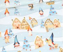Sommersweat - Gnomes - Tomte Und Pepples - Stadt - Kombistoff - Weihnachten - Hellblau - Bio Qualität - abby and me