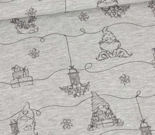 Sommersweat - Christmas Gnome - Outlines - Weihnachten - Grau Meliert - abby and me