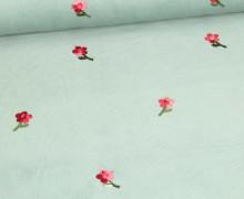 Babycord - Feincord - Aufgestickte Blumen - Lichtgrün