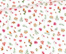 Bio Musselin - Muslin - Flower Romance - Organic Cotton - Double Gauze -  Weiß