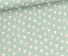 Bio Musselin - Muslin - Watercolor Hearts - Small - Organic Cotton - Double Gauze -  Altgrün