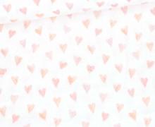 Bio Musselin - Muslin - Watercolor Hearts - Small - Organic Cotton - Double Gauze -  Weiß