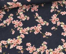 Bio Musselin - Muslin - Cherry Blossom - Organic Cotton - Double Gauze -  Stahlblau