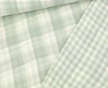 Musselin - Muslin - Double Gauze - Doubleface - Kariert - Lichtgrün/Weiß