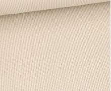 Waffelstrick-Jersey - Feine Struktur - Baumwolle - Uni - Beige