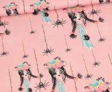 Sommersweat - Zarina Zombie - Zombiegirl & Spinnen - Kombistoff - Rosa - Bio Qualität - abby and me