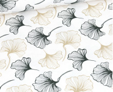 Canvas - feste Baumwolle - Ginko Leaves -  Weiß