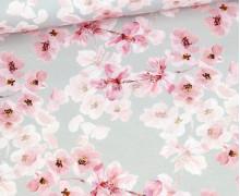 Canvas - feste Baumwolle - Watercolor Cherry Blossom - Hellgrau