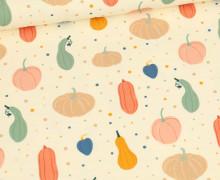 Sommersweat - Herrlicher Herbst - Kürbisse - Ecru - Bio Qualität - abby and me