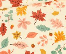Sommersweat - Herrlicher Herbst - Blätter - Ecru - Bio Qualität - abby and me