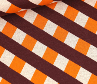 Bio-Jacquard - 3 Farb Spezial Jacquard Jersey - In Every Way - Only You - Bordeaux/Weiß/Orange - Hamburger Liebe