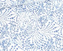 Baumwolle - Webware - Poplin - Leicht Elastisch - Batikmuster - Weiß
