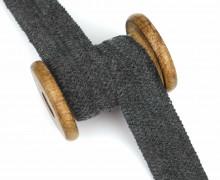1 Meter Einfassband - Wolltresse - Falztresse - 30mm - Uni - Dunkelgrau