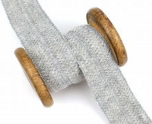 1 Meter Einfassband - Wolltresse - Falztresse - 30mm - Uni - Hellgrau