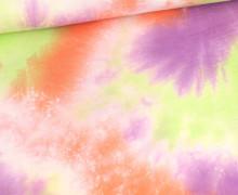 Musselin - Muslin - Double Gauze - Batik Tricolor - Orangerot/Lila/Gelbgrün