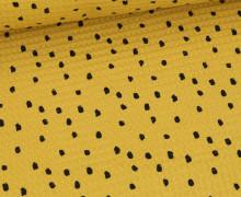 Waffel Piqué - Baumwolle - Bedruckt - Black Dots - Senfgelb