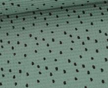 Waffel Piqué - Baumwolle - Bedruckt - Black Dots - Altgrün