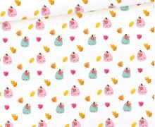 Sommersweat - Süße Kürbisse - Rosa - Kombistoff - Halloween - Weiß - Bio Qualität - abby and me