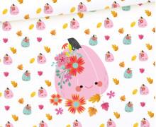 Sommersweat - Süße Kürbisse - Rosa - Paneel - Halloween - Weiß - Bio Qualität - abby and me