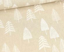 Half Panama Premium - Baumwolle - White Pine Trees - Weihnachten - Beige