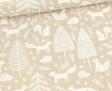 Half Panama Premium -  Baumwolle - White Forest - Weihnachten - Beige