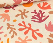 Half Panama Premium - Baumwolle - Abstract Colorful Leaves - Orange - Beige