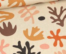 Half Panama Premium -  Baumwolle - Abstract Colorful Leaves - Braun - Beige