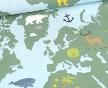 Half Panama Premium -  Baumwolle - Animals Around The World  - Weihnachten - Hellblau/Grün