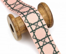 1 Meter Gurtband  - 38mm - Grafisches Muster - Babyrosa/Dunkelgrün