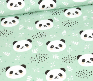 Sommersweat - Cute Pandas - Mint - Bio Qualität - abby and me