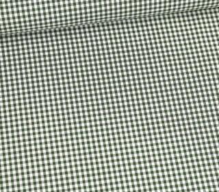 Baumwolle Webware - Check - Kariert - Weiß/Dunkelgrün
