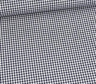Baumwolle Webware - Check - Kariert - Weiß/Stahlblau