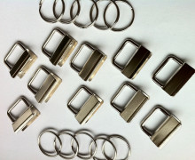10 Schlüsselanhänger Rohlinge - 2,5cm - Schlüsselband - Silber