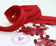 2m Endlos Reißverschluss *s* + 10 Zipper Rot (148)