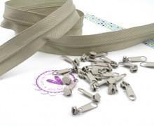 2m Endlosreißverschluss *s* + 10 Zipper - Beige (307)