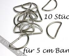 10 D-Ringe - 50mm - Halbring - Taschenring - Silber