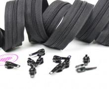 2m Endlos Reißverschluss *B+10 Zipper Schwarz(332)