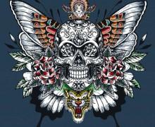 Kissen Top - 48cm x 48cm - Royal Punk - Jacquard - Skull - Dunkelblau