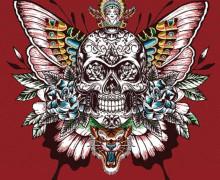 Kissen Top - 48cm x 48cm - Royal Punk - Jacquard - Skull - Dunkelrot