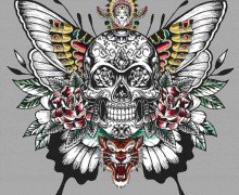 Kissen Top - 48cm x 48cm - Royal Punk - Jacquard - Skull - Grau