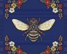 Kissen Top - 48cm x 48cm - Royal Punk - Jacquard - Queen-Bee - Dunkelblau