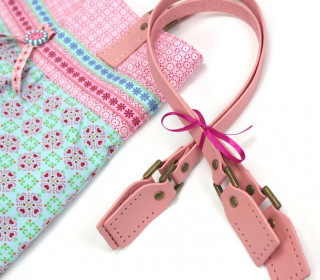 Taschengriffe in Rosa Leder - Henkel 60cm