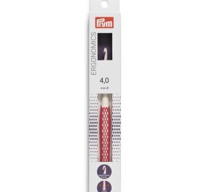 1 Wollhäkelnadel - Ergonomics - 4,0mm - Prym - Weiß/Pink