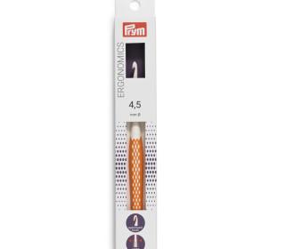 1 Wollhäkelnadel - Ergonomics - 4,5mm - Prym - Weiß/Orange
