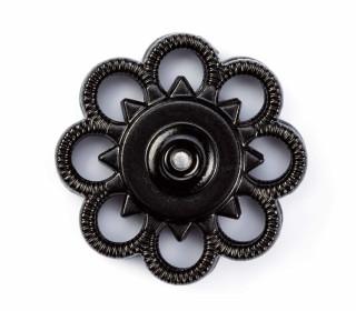 2 Knöpfe - Annäh-Druckknopf -  Blume - 25mm - Prym - Schwarz