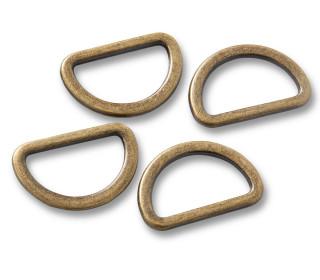 4 Halbrundringe - D-Ringe - 20mm - Prym - Altmessing