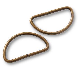 2 Halbrundringe - D-Ringe - 40mm - Prym - Altmessing
